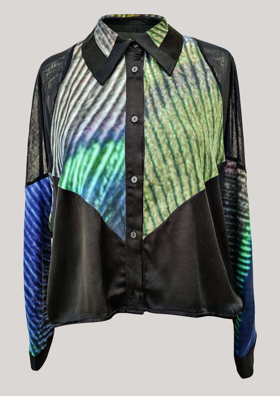 SHIRT PATCHWORK - print peacock/black - BERENIK