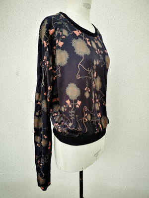 SAMPLE - SUMMER SWEATER WITH ROLL UP SLEEVES - rayon printed black/rust
