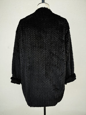 SAMPLE - CARDIGAN WITH BUTTONS AND POCKETS - faux rhomb fur black