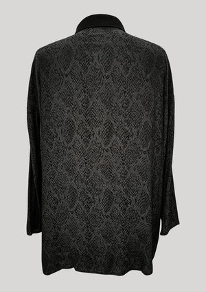 SHIRT COLLAR ZIP - JACQUARD SATIN black snake - BERENIK