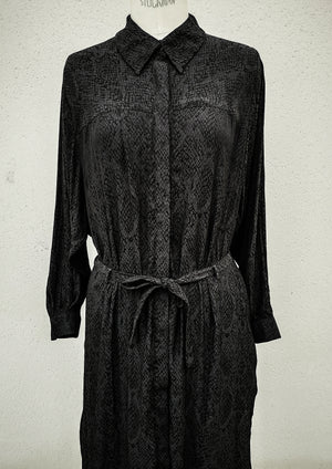 SAMPLE - DRESS LONG WITH BELT - jacquard satin snake black/grey