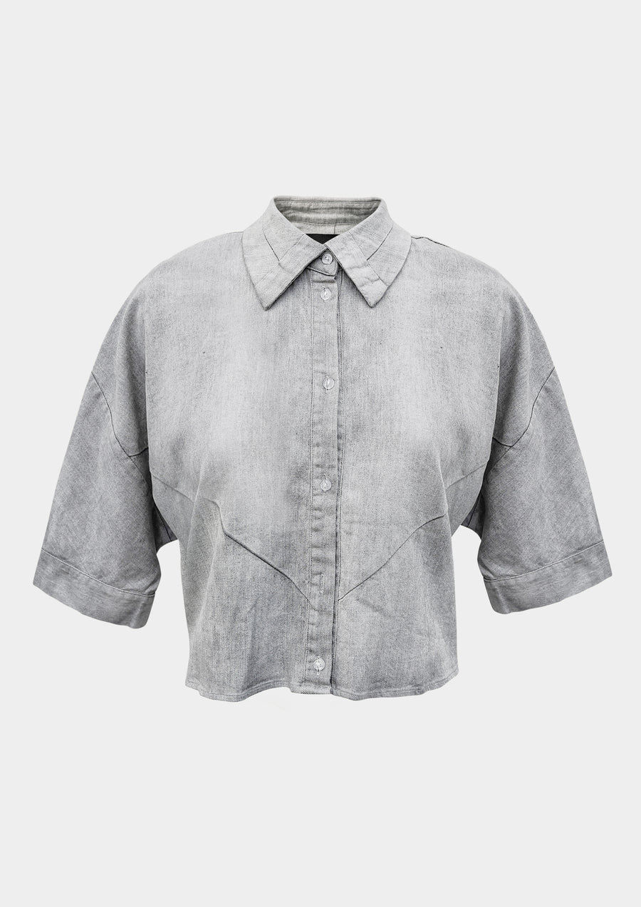BLOUSE - SHORT SLEEVES - DENIM light grey washed