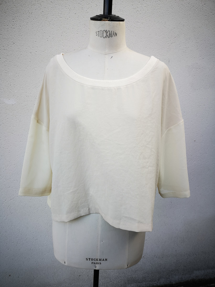 SAMPLE - T-SHIRT WIDE SLEEVES - creme mesh