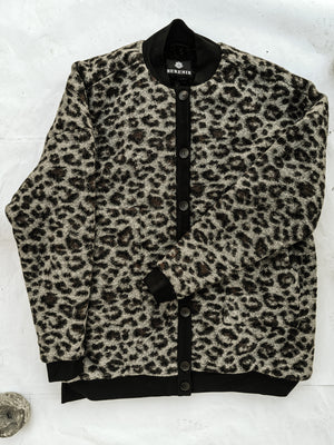 SAMPLE - PILOT JACKET FAUX FUR LINING - wool blend animal print