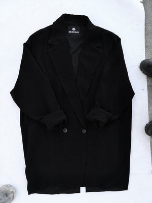 SAMPLE - JACKET REVERS WITH POCKETS - boucle crepe black
