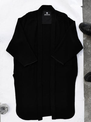 SAMPLE - CARDIGAN LONG WITH POCKETS - boucle crepe black
