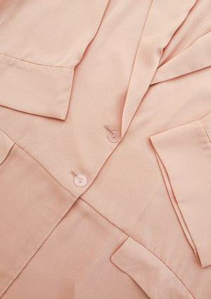 SAMPLE - SUMMER COAT WITH ROLLUP SLEEVES, POCKETS - peach