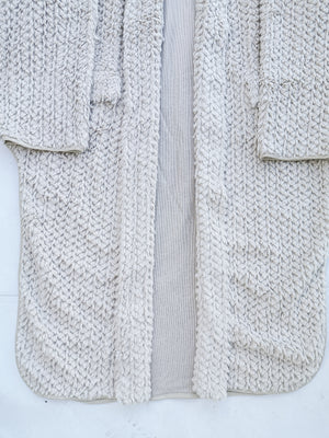 SAMPLE - CARDIGAN LONG WITH POCKETS - rhomb fur ivory