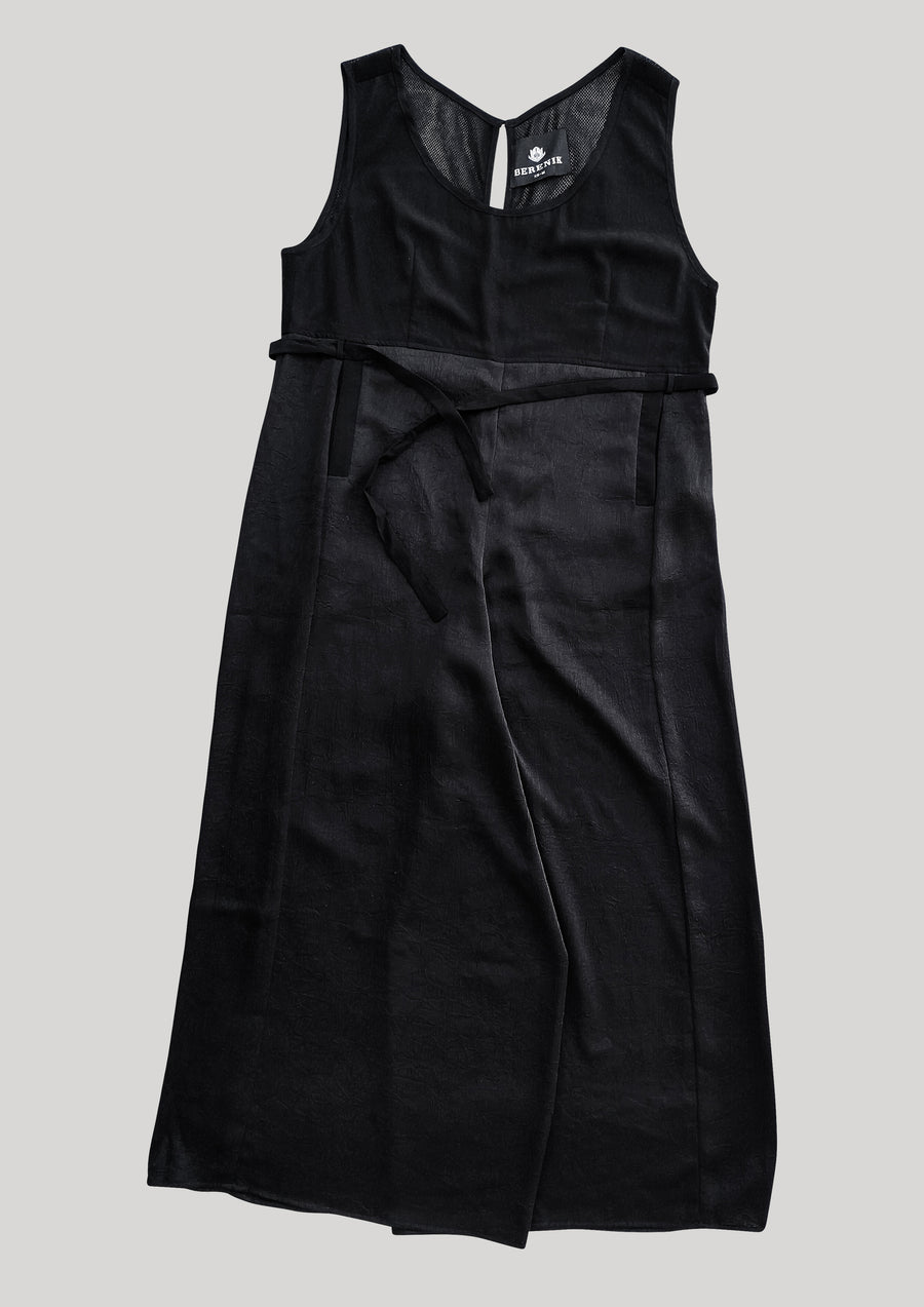 JUMPSUIT WIDE - black shiny/matt/mesh - BERENIK