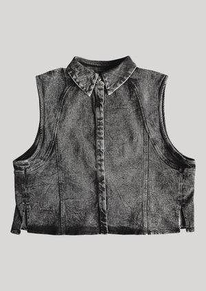 SLEEVELESS SUMMER BLOUSE - DENIM washed black