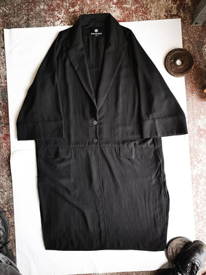 SAMPLE - SUMMER COAT WITH ROLL UP SLEEVES - black matte