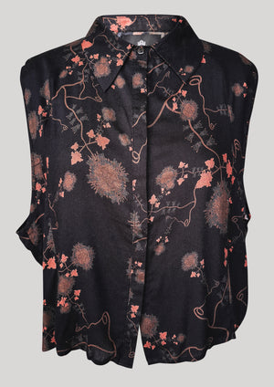 BLOUSE SHORT SLEEVELESS - RAYON print black/rust