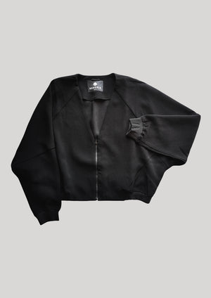 JACKET V-COLLAR - black plain