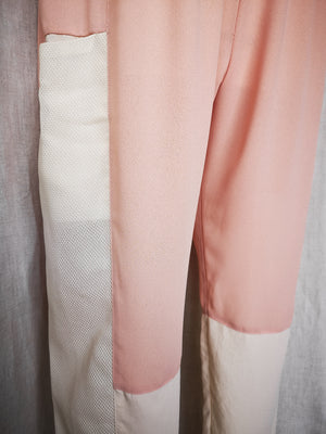 SAMPLE - PANTS LOOSE WITH ELASTIC WAIST AND POCKETS - patchwork peach/creme/mesh
