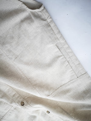 SAMPLE - JUMPSUIT LONG WITH SIDE SLOTS - linen natural white