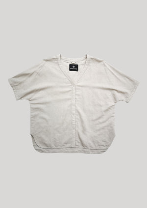BLOUSE V-COLLAR BUTTONS - NATURAL LINEN white