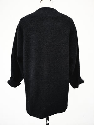 SAMPLE - CARDIGAN WITH PRESS BUTTONS AND POCKETS - wool blend black