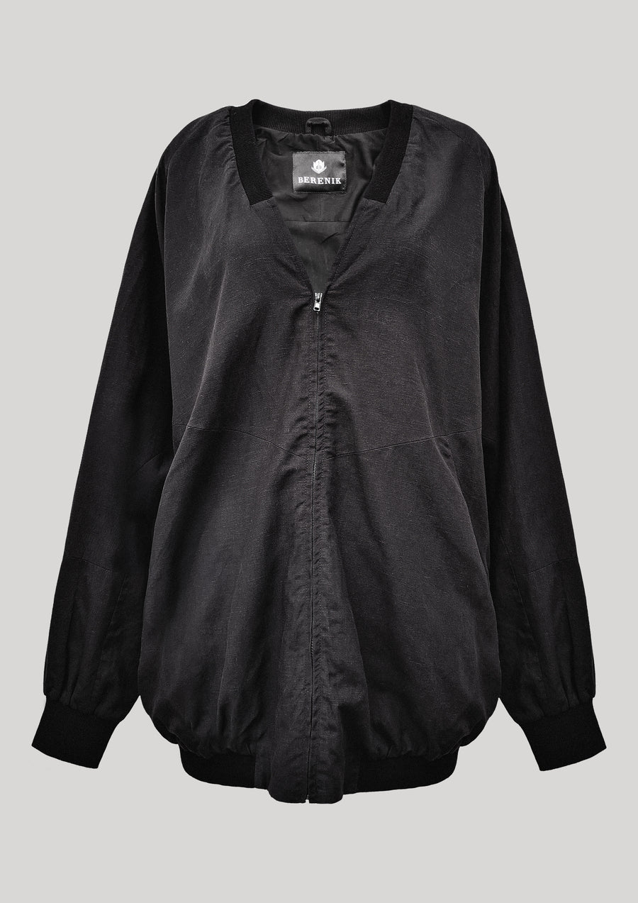 PILOT JACKET V NECK - LINEN black