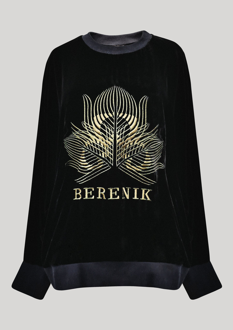OVERSIZED SWEATER - SILK VELVET black with golden BERENIK embroidery