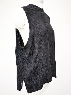 SAMPLE - BLOUSE SLEEVELESS - jacquard satin snake black/grey