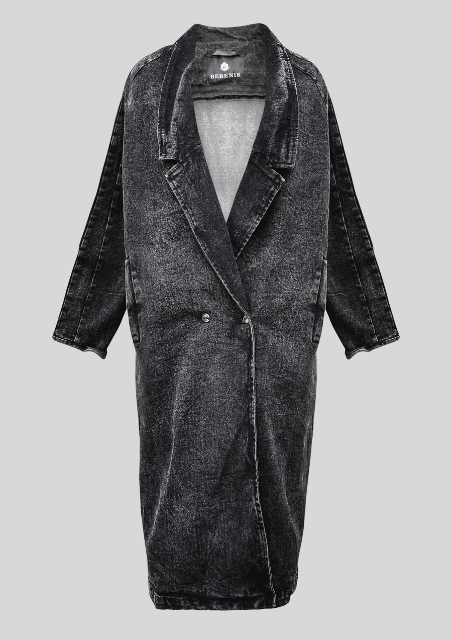 COAT LONG REVERS - DENIM washed black - BERENIK