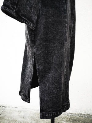 SAMPLE - COAT LONG REVERS WITH BUTTONS AND POCKETS - denim washed black