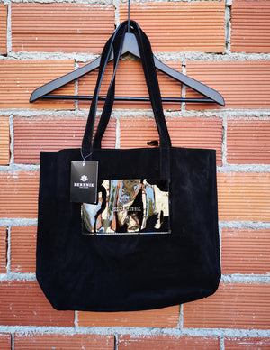 SAMPLE - TOTE BAG - LEATHER suede black