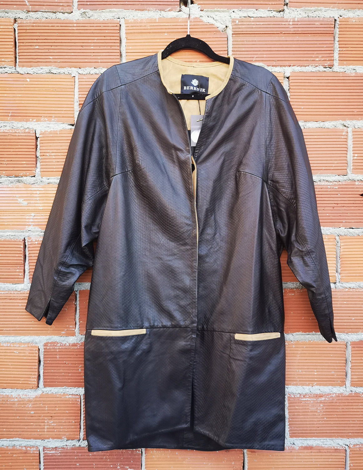 SAMPLE - REAL LEATHER COAT - black