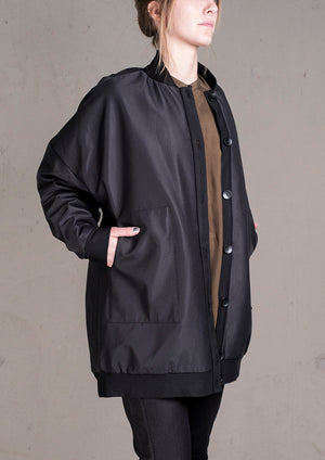 PILOT JACKET - WEATER CLOTH black / FUR LINING black