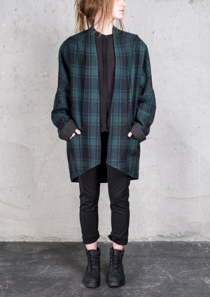 CARDIGAN - WOOL FLANNEL CHECK black/green