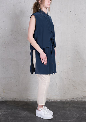 BLOUSE SLEEVELESS DARK BLUE - BERENIK