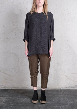 SHIRT ZIP OVERSIZED JACQUARD SATIN SNAKE BLACK