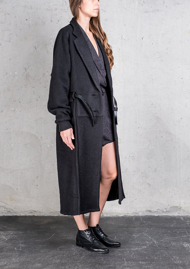 COAT LONG WOOL BLEND BLACK