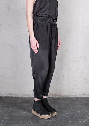 PANTS LOOSE ELASTIC RAYON SATIN BLACK