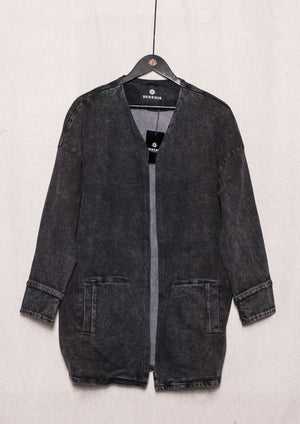 SUMMER DRESS/JACKET V-NECK ZIP - DENIM washed black