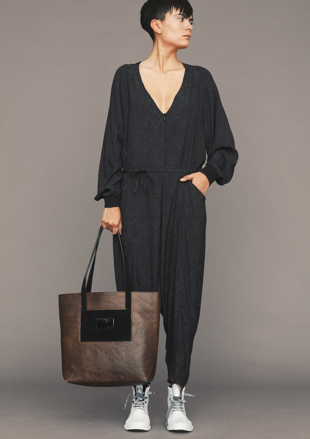 0ccfc198d4a8 JUMPSUIT LONG OVERSIZED - JACQUARD SATIN black snake - BERENIK