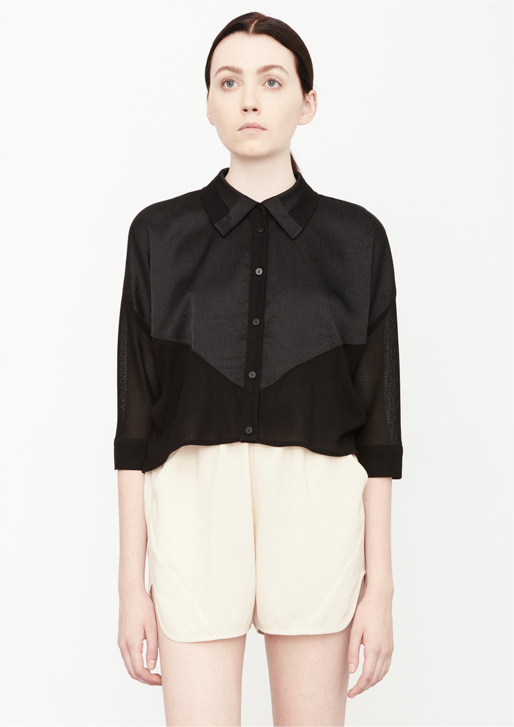 BLOUSE SHORT SLEEVES - SHINY/MESH black - BERENIK