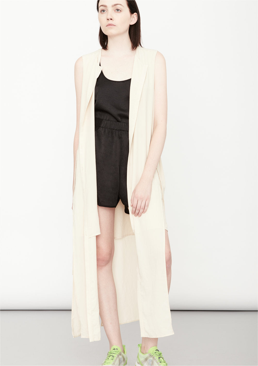 DRESS LONG SLEEVELESS - creme