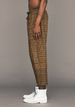 PANTS LOOSE ELASTIC- COTTON JERSEY embroidery gold - BERENIK
