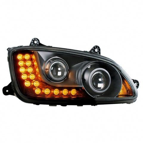 "Kenworth T660/T440/T470 ""Blackout"" Projection Headlight w/ LED Turn Signal - Passenger"