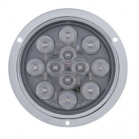 "12 LED Deep Dish 4"" Stop, Turn & Tail - Red LED/Clear Lens"