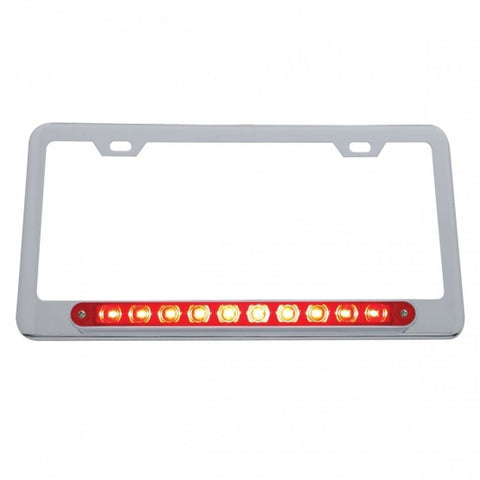 10 LED Light Bar License Frame - Red LED/Red Lens