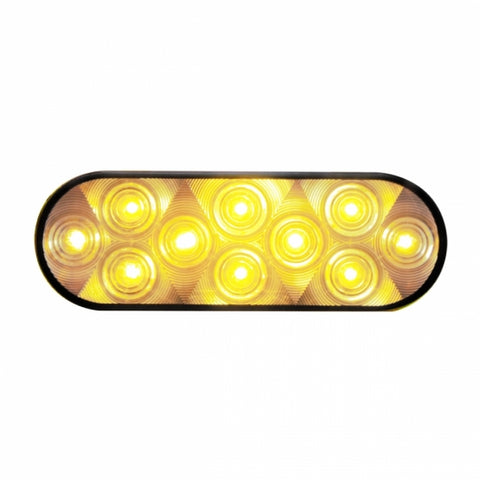 10 LED Oval Turn Signal Light - Amber LED/Clear Lens