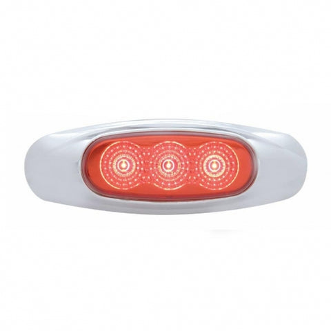 3 LED Reflector Clearance/Marker Light - Red LED/Red Lens