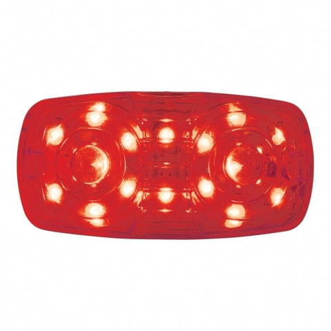 16 LED Rectangular Clearance/Marker Light w/ 2 Wires - Red LED/Red Lens