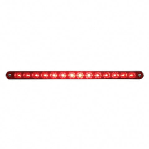 "14 LED 12"" Stop, Turn & Tail Light Bar w/ Bezel - Red LED/Red Lens"