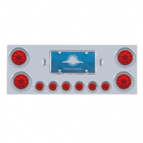 "Stainless Rear Center Panel w/ Four 4"" 10 LED & Six 2"" 9 LED Light & Visor - Red LED/Red Lens"