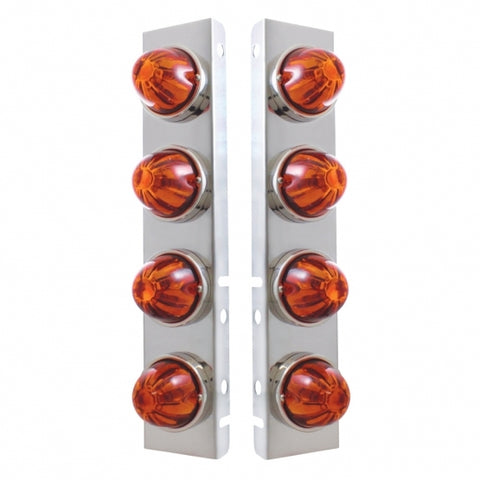 Peterbilt Stainless Front Air Cleaner Bracket w/ Eight Glass Watermelon Lights & Stainless Bezels - Dark Amber Lens