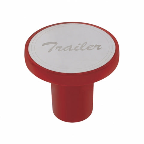 """Trailer"" Aluminum Screw-On Air Valve Knob w/Stainless Plaque - Candy Red"
