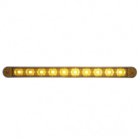 "10 LED 9"" Turn Signal Light Bar w/ Bezel - Amber LED/Amber Lens"